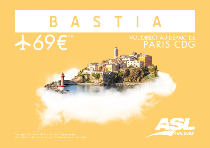 paris bastia une nouvelle offre de vols asl airlines france. Black Bedroom Furniture Sets. Home Design Ideas